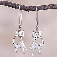 Sterling silver dangle earrings, 'Flirty Kitties' - Cat-Shaped Sterling Silver Dangle Earrings from Peru