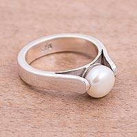 Cultured pearl solitaire ring, 'Shining Queen' - Cultured Pearl and Silver Solitaire Ring from Peru
