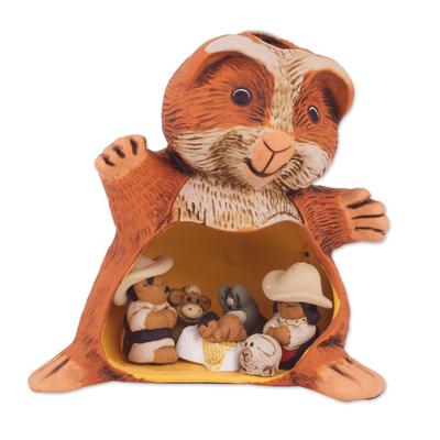 Guinea Pig Andean Christmas Nativity Scene in Ceramic