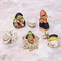 Ceramic nativity scene, 'Hope of the Andes' (7 pieces) - Andean Style Petite Ceramic Nativity Scene (7 Pieces)
