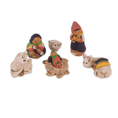 Andean Style Petite Ceramic Nativity Scene (7 Pieces)