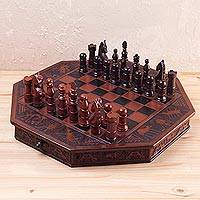 Mohena wood and leather chess set, 'Colonial Game'