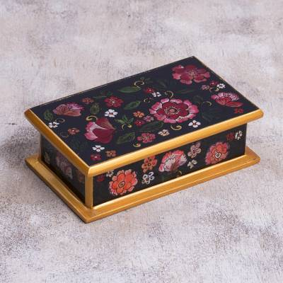 Reverse-painted glass decorative box, 'Colonial Bouquet' - Reverse-Painted Glass Decorative Box in Black from Peru