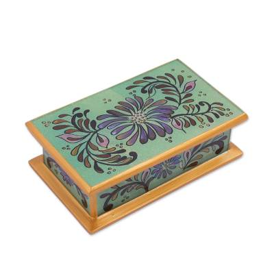 Floral Reverse Painted Glass Decorative Box from Peru