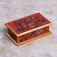 Reverse painted glass decorative box, 'Garden At Sunset' - Reverse Painted Glass Decorative Box in Red from Peru