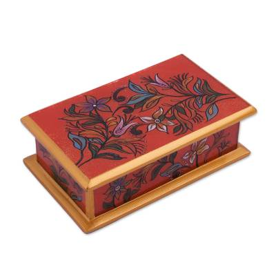Reverse Painted Gl Decorative Box in Red from Peru - Garden At ...