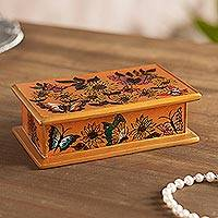Reverse painted glass decorative box, 'Sunflower Party' - Reverse Painted Glass Decorative Box in Orange from Peru