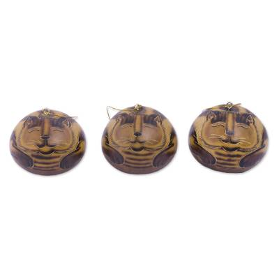 Handmade Dried Mate Gourd Hanging Cat Ornaments (set of 3)