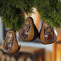 Dried mate gourd ornaments, 'Virgin of the Andes' (set of 3) - Peruvian Artisan Crafted Dried Gourd Ornaments (set of 3)