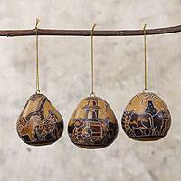 Dried mate gourd ornaments, 'Boarding the Ark' (set of 3) - Peruvian Dried Mate Gourd Noah's Ark Ornaments (set of 3)