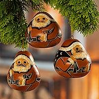 Dried mate gourd ornaments, 'Sweet Father Christmas' (set of 3) - Dried Gourd Father Christmas Hanging Ornaments (set of 3)