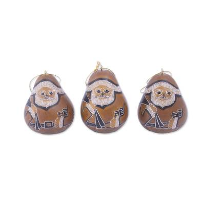 Dried Gourd Father Christmas Hanging Ornaments (set of 3)