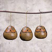 Dried mate gourd ornaments, 'Sweet Guardians' (set of 3) - Dried Mate Gourd Hanging Owl Ornaments from Peru (set of 3)