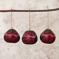 Dried mate gourd ornaments, 'Night Watchmen' (set of 3) - Artisan Crafted Dried Gourd Red Owl Ornaments (set of 3)