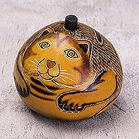 Dried mate gourd jewelry box, 'Andean Feline' - Andean Artisan Crafted Dried Mate Gourd Cat Jewelry Box