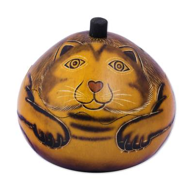 Andean Artisan Crafted Dried Mate Gourd Cat Jewelry Box