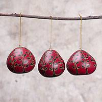 Dried mate gourd ornaments, 'The Flowering Season' (set of 3) - Dried Mate Gourd Floral Motif Ornaments from Peru (set of 3)