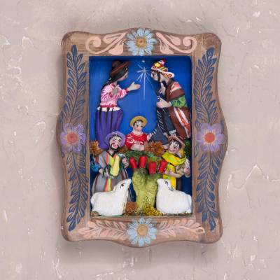 Wood wall retablo, 'Birth in Ayacucho' - Handcrafted Nativity Wall Retablo from Peru