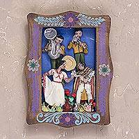 Wood wall retablo, 'Evening Dance' - Handcrafted Plaster Wall Retablo of Dancers