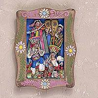 Wood wall retablo, 'Colorful Dance' - Handcrafted Plaster Wall Retablo from Peru