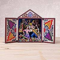 Wood retablo, 'Dance in the Andes' - Hand Painted Wood Retablo from Peru