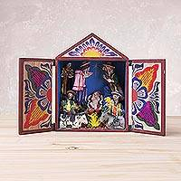 Wood retablo, 'Sacred Nativity' - Handcrafted Wood and Plaster Nativity Retablo from Peru