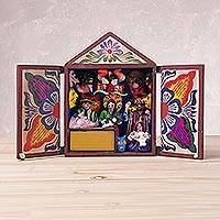 Wood retablo, 'Gallery of Masks' - Handcrafted Plaster and Wood Retablo from Peru