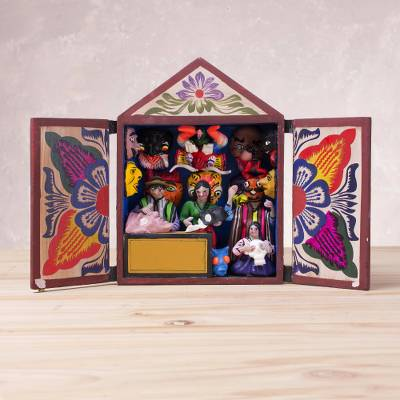 Handcrafted Plaster And Wood Retablo From Peru Gallery Of Masks Novica