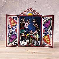 Wood retablo, 'Christmas in Peru' - Wood and Plaster Dance Retablo from Peru
