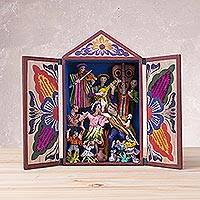 Wood retablo, 'Andes Dance' - Hand Painted Wood and Plaster Retablo from Peru