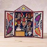 Wood retablo, 'Masks of Peru' - Handcrafted Plaster and Wood Retablo from Peru