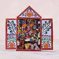 Hand-painted mini-retablo, 'Carnival Masks' - Andean Handcrafted Carnival Mask Shop Folk Art Sculpture