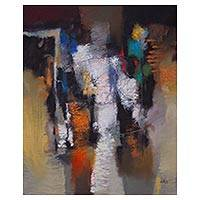 'Abstraction' - Original Peruvian Abstract Art Textured Oil Painting