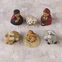 Ceramic nativity scene, 'Christmas Meditation' (7 pieces) - Andes Handcrafted 7 Piece Diminutive Ceramic Nativity Scene