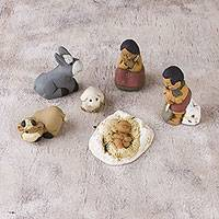 Ceramic nativity scene, 'Grandparents on Christmas Eve' (6 pieces) - Petite Ceramic Andean Nativity Scene (6 Pieces)