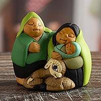 Ceramic nativity scene, 'Holy Family in Peru' - Petite Andean Christmas Nativity Scene in Ceramic