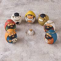 Ceramic nativity scene, 'Christmas Egg-citement' (7 pieces) - 7 Piece Egg-Shaped Diminutive Ceramic Nativity Scene