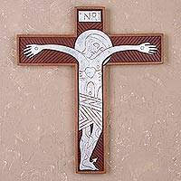 Cedar and aluminum wall cross, 'Byzantine Christ in Silver' - Handcrafted Cedar and Aluminum Wall Cross from Peru