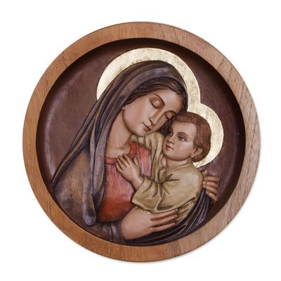 Cedar relief panel, 'Mama Ash' - Mary and Jesus Cedar Wood Relief Panel from Peru