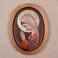 Cedar relief panel, 'Blissful Mary' - Cedar Wood Wall Relief Panel of Mary from Peru