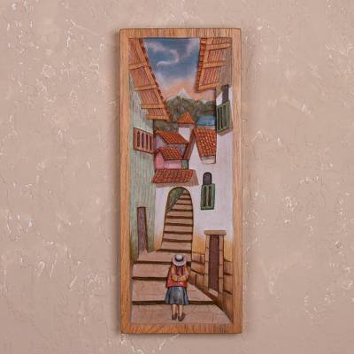 Cedar relief panel, 'Street of Steps' - Cedar Wood Relief Panel of Cuzco from Peru