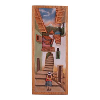 Cedar relief panel, 'Street of Steps' - Cedar Wood Relief Panel of Cuzco from Peru