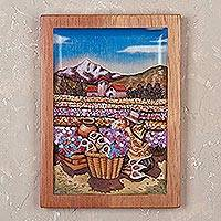 Cedar relief panel, 'Floral Harvest' - Cedar Wood Relief Panel of a Flower Field from Peru