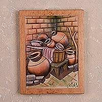 Cedar relief panel, 'Jars of Clay' - Cedar Wood Relief Panel of Ceramic Jars from Peru