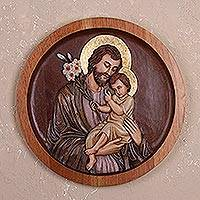 Cedar wood relief panel, 'St. Joseph with the Baby Jesus' - Cedar Wood Relief Panel of St. Joseph with Baby Jesus