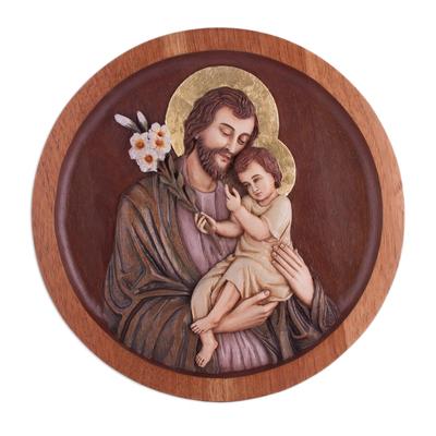 Cedar wood relief panel, 'St. Joseph with the Baby Jesus' - Cedar Wood Relief Panel of St. Joseph with Baby Jesus