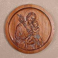 Cedar relief panel, 'Saint Joseph and Jesus' - Cedar Wood Relief Panel of Joseph and Jesus from Peru