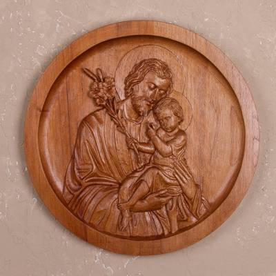 Cedar wood relief panel of joseph and jesus from peru saint joseph