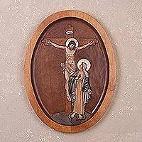 Cedar relief panel, 'The Immaculate Heart of Mary' - Cedar Wood Relief Panel of Jesus on the Cross from Peru