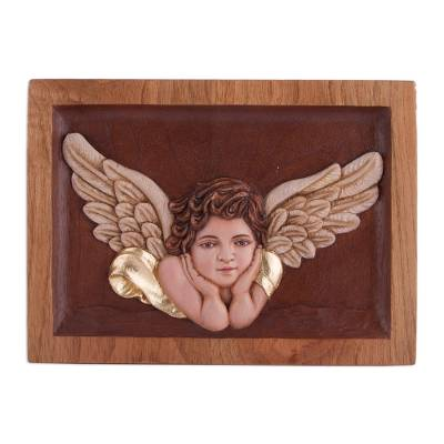Cedar relief panel, 'Blissful Angel' - Hand-Carved Cedar Wood Relief Panel of an Angel from Peru